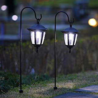 Maggift 26 Inch Hanging Solar Lights Dual Use Shepherd Hook Lights with 2 Shepherd Hooks Outdoor Solar Coach Lights 2 pack