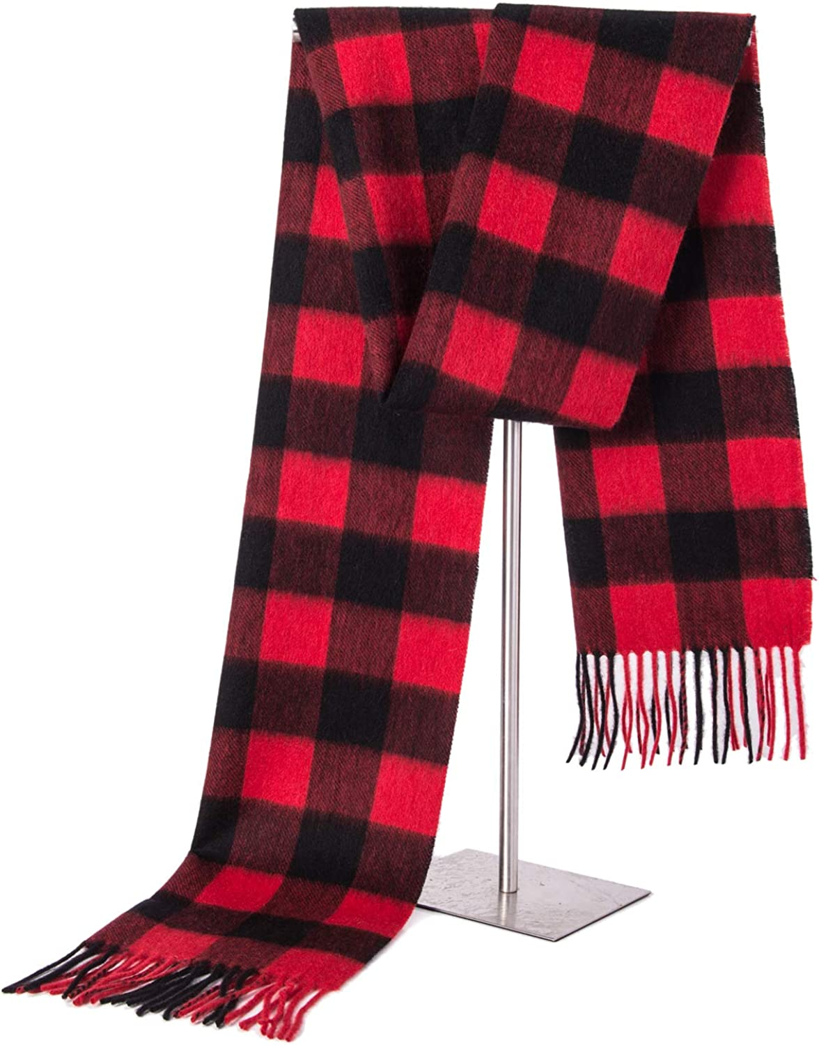 100% Cashmere Scarf, Classic Check Style for Women