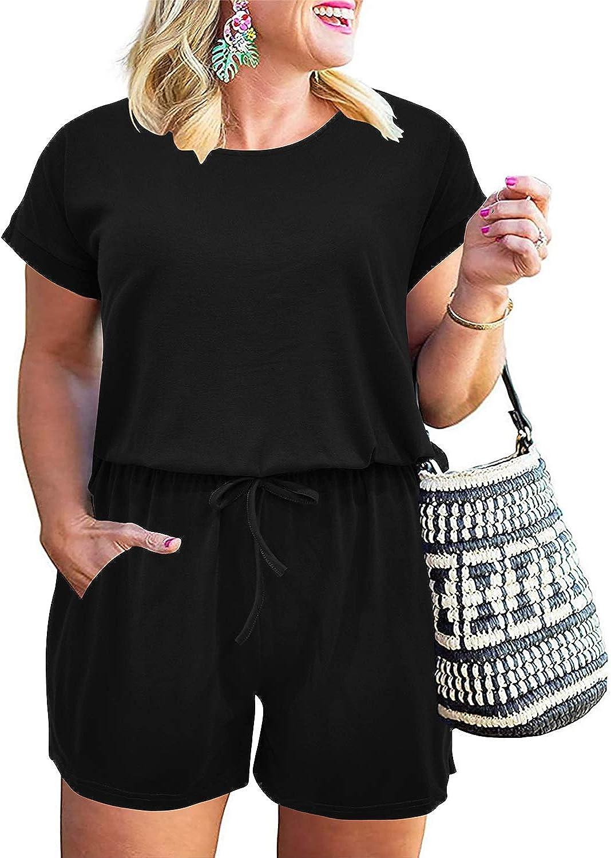Nemidor Women's Casual Plus Size Loose Jumpsuit and Rompers Stretchy Elastic Waist Summer Short Playsuit with Pockets NEM252