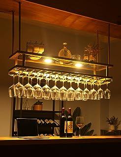 Support de verre à vin suspendu en fer Accessoires de bar Étagère de décoration de plafond Gobelets en verre à champagne P...
