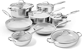 GreenPan Venice Pro 14 Piece Stainless Steel Ceramic Nonstick Cookware Set - Induction Compatible