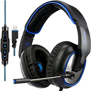 SADES R7 USB Gaming Headset Surround Sound Over-Ear Gaming Headphones for Computer PC MAC Laptop(Black)
