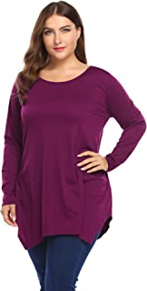 IN'VOLAND Involand Women Plus Size Long Sleeve Tunic Tops Loose Basic Shirt