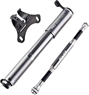 PRO BIKE TOOL Bike Pump with Gauge Fits Presta and Schrader – Accurate Inflation..
