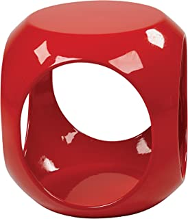 AVE SIX Slick High Gloss Finish Cube Occasional Table, Red