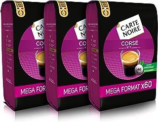 Carte Noire Expresso Corsé N°7, Café en Dosettes Compostables Compatibles Senseo, 3 Paquets de 60 dosettes souples (180 do...