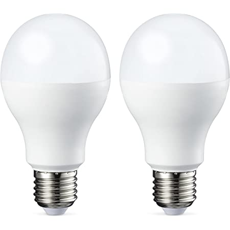 Amazon Basics Bombilla LED Esférica E27 de tornillo Edison, 9W (equivalente a 60W), [Classe energética A+], Blanco Cálido - 2 unidades