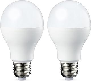 Amazon Basics Bombilla LED Esférica E27 de tornillo Edison, 9W (equivalente a 60W), [Classe energética A+], Blanco Cálido...