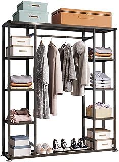 UDEAR Porte-vêtements en métal,Portant Meuble Rangement pour Vêtements Penderie Ouverte,Chaussure Rangement,avec 9 étagère...