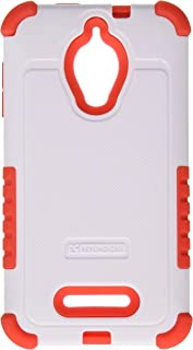 Beyond Cell Duo Shield Durable Hybrid Hard Shell and Silicone Gel Case for Alcatel One Touch Fierce 7024W - Non-Retail Packaging - White/Red