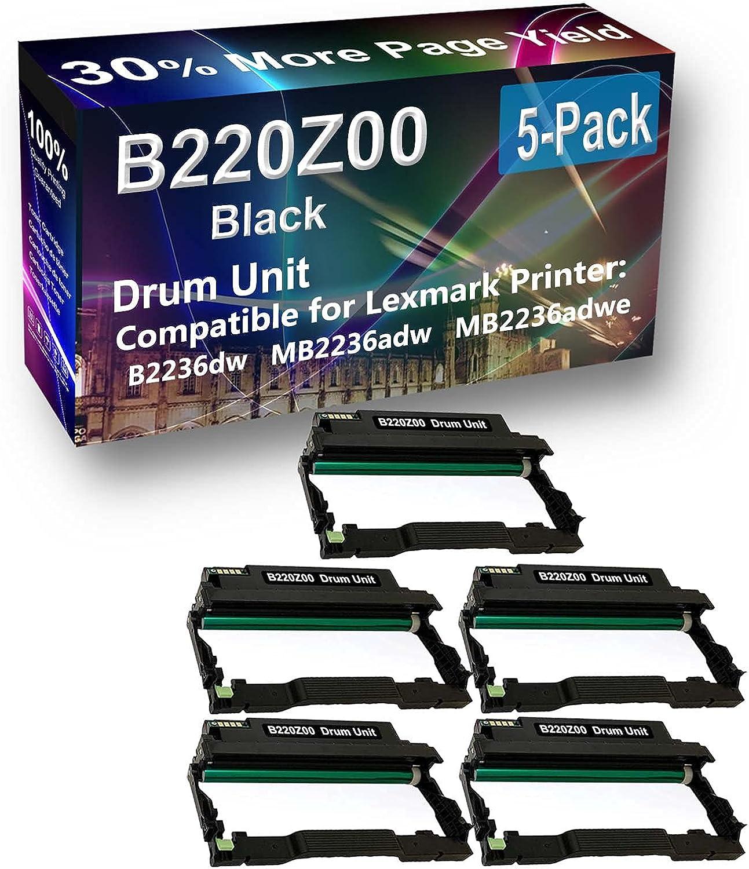 5-Pack (Black) Compatible E350 E350D, E350DN Printer Drum Unit Replacement for Lexmark E250X22G Drum Kit
