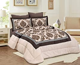 Medium Filling Floral Comforter 6Piece Set By Hours, King Size,Echo-07