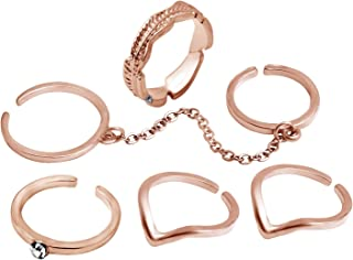 Coucoland 6pcs Stack Rings Leaf V Rhinestone Joint Rings Nail Ring Set