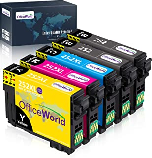 OfficeWorld Remanufactured Ink Cartridge Replacement for Epson 252XL 252 XL to use with Workforce WF-3620 WF-3640 WF-7610 WF-7620 WF-7110 WF-7710 WF-7720 (2 Black, 1 Cyan, 1 Magenta, 1 Yellow) 5-Pack