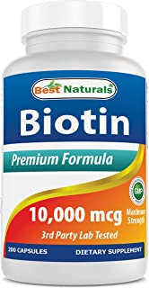 Best Naturals Maximum Potency Biotin 10,000 Mcg for Healthier and Longer Hair Growth Support Formula, 200 Count