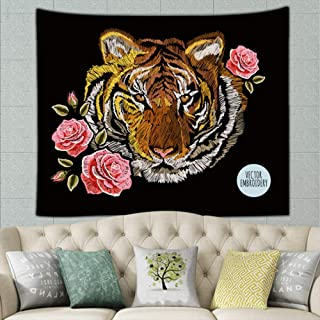 best bags Embroidery Colorful Floralroses Japanese Tiger Vintage Hippie Tapestry Wall Art for Living Room Bedroom Dorm Decor 90 X 60 Inches