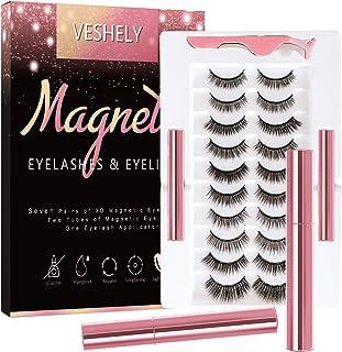 VESHELY Magnetic Eyelashes with Eyeliner Kit,3D Natural Magnetic Eyelashes Set with Applicator and 2 Waterproof Magnetic E...