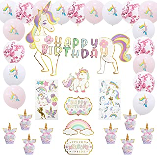 Unicorn Party Supplies Set, Unicorn Birthday Party Banner and Decorations Supplies,Total 42 pcs of Kids Theme Party, Baby ...
