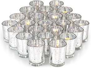 Volens Gold Votive Candle Holders, Mercury Glass Tealight Candle Holder Set of 72 Silver