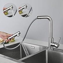 CECIPA X203S Hogedrukkraan voor de keuken, uittrekbaar, keukenkraan met sproeikop, twee waterstraalsoorten, eenhendel wast...