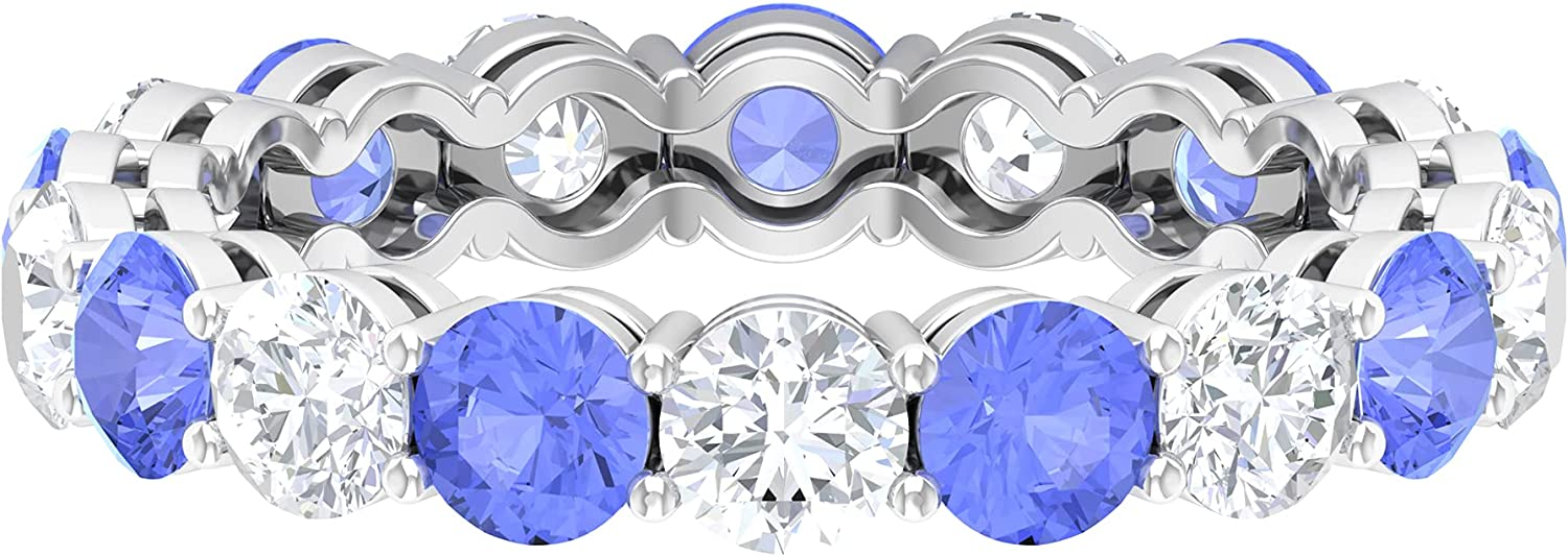 3.50 CT Basket Set Tampa Mall Tanzanite and Eternity Diamond Qual Year-end gift Ring AAA