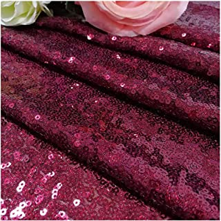 Burgundy Sequin Fabric by The Yard, Wine Glitter Sequins Fabric for DIY, Handcraft, Sewing, Sequin Table Cloth, Backdrop Curtains, Wedding, Party Decor (3 Feet 1 Yard, Maroon) ~190502S