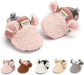 Infant Baby Boys Girls Slippers Cozy Fleece Booties with Anti-Slip Bottom Cartoon Socks Newborn Crib First Walkers Shoes