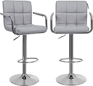 Songmics Lot de 2 Tabourets de bar haut Chaise de bar PU chrome hauteur réglable grande base Φ 41 cm LJB93G