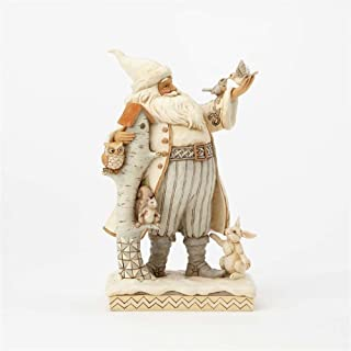 Enesco Jim 4058735 Shore Heartwood Creek White Woodland Santa with Birch House Figurine, 10.5