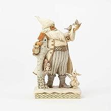Enesco Jim 4058735 Shore Heartwood Creek White Woodland Santa with Birch House Figurine, 10.5