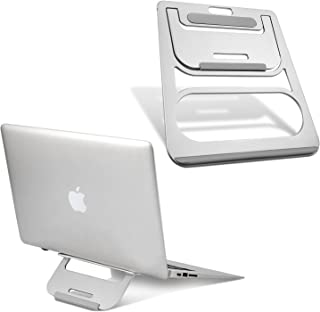 Modrine Folding Laptop Stand, Aluminum Ventilated Cooling MacBook Stand - Portable Elevated Laptop Riser with Non-Slip Pads for Apple MacBook Air, MacBook Pro, All Laptop & Notebook, Silver