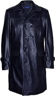Men's UBOAT Long Black German WW2 Reefer Genuine Cowhide Leather Coat Jacket