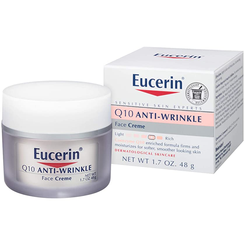 生き返らせる鼻人に関する限りEucerin Sensitive Facial Skin Q10 Anti-Wrinkle Sensitive Skin Creme 48g (並行輸入品)