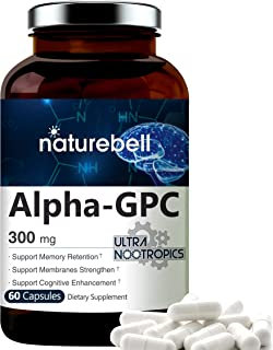 Maximum Strength Alpha GPC Choline Supplement 300mg, 60 Capsules, Strongly Supports Memory Retention and Cognitive Functio...