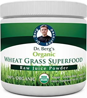 Dr. Berg's Wheat Grass Superfood Powder - Raw Juice Organic Ultra-Concentrated Rich in Vitamins & Nutrients - Chlorophyll ...