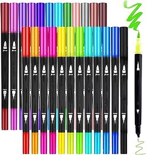 24 Couleurs Art Double Marqueurs au Coloriage Stylo Pinceau Pointe Fine Couleur, De Surligneur Stylos pour Calligraphie