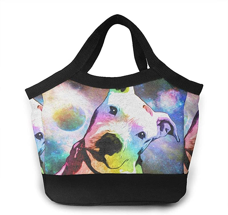 FANTASY SPACE Lunch Box Totebag Moisture Resistant Polyester Lunch Container Reusable Gourmet Lunchbox Container Pit Bull Rainbow Series Pop Art Snacks Organizer For Women Men Kids Office School