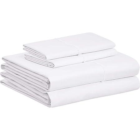 Amazon Basics Organic Percale Cotton Sheet Set with Frayed Hem - Full, White