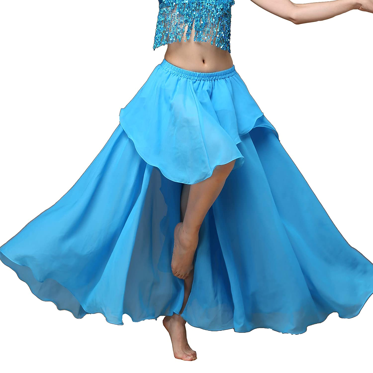 Details about  /DEEP PINK Satin Full Circle Maxi Skirt Belly Dancing Clothing Tribal Costume