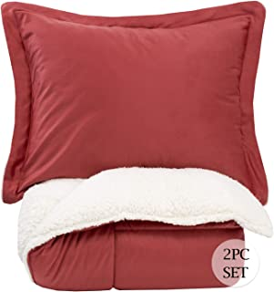 Sweet Home Collection Comforter Set 2 Piece Sherpa Soft and Luxurious Plush All Season Warmth Down Alternative Reversible to Solid Color with 1 Sham, Twin, Burgundy
