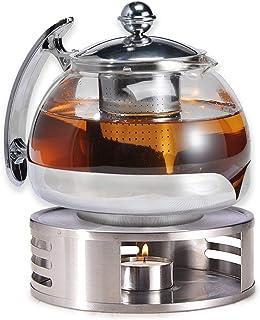 Gravidus Szklany dzbanek do herbaty z sitkiem i podgrzewaczem - 1,2 litra - podgrzewacz do herbaty i zaparzacz do herbaty...