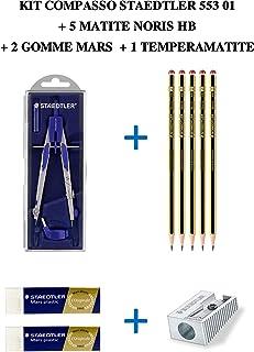 Staedtler Kit de la Escuela consiste en Compass Ligero 553 01 + 5 lápices Noris 120 graduación de HB + 2 Gomas de plástico de Marte Blanco Suave 526 50 + 1 sacapuntas de lápiz de 1 Orificio 510 10