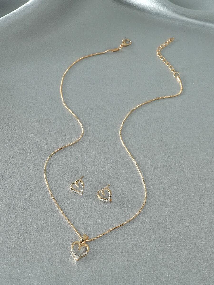 BAOBUM Jewelry Set Zircon Heart Necklace Atlanta Mall Stud Max 82% OFF Charm Earr 1pair