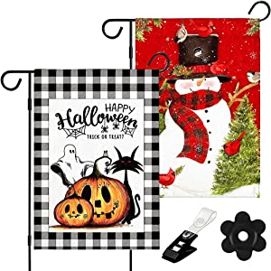 2 Pack Halloween Garden Flags 12 X 18 Double Sided and Christmas Garden Flags 12x18 Double Sided,Garden Flag XMAS Halloween,Burlap Merry Christmas Happy Halloween Garden Flag