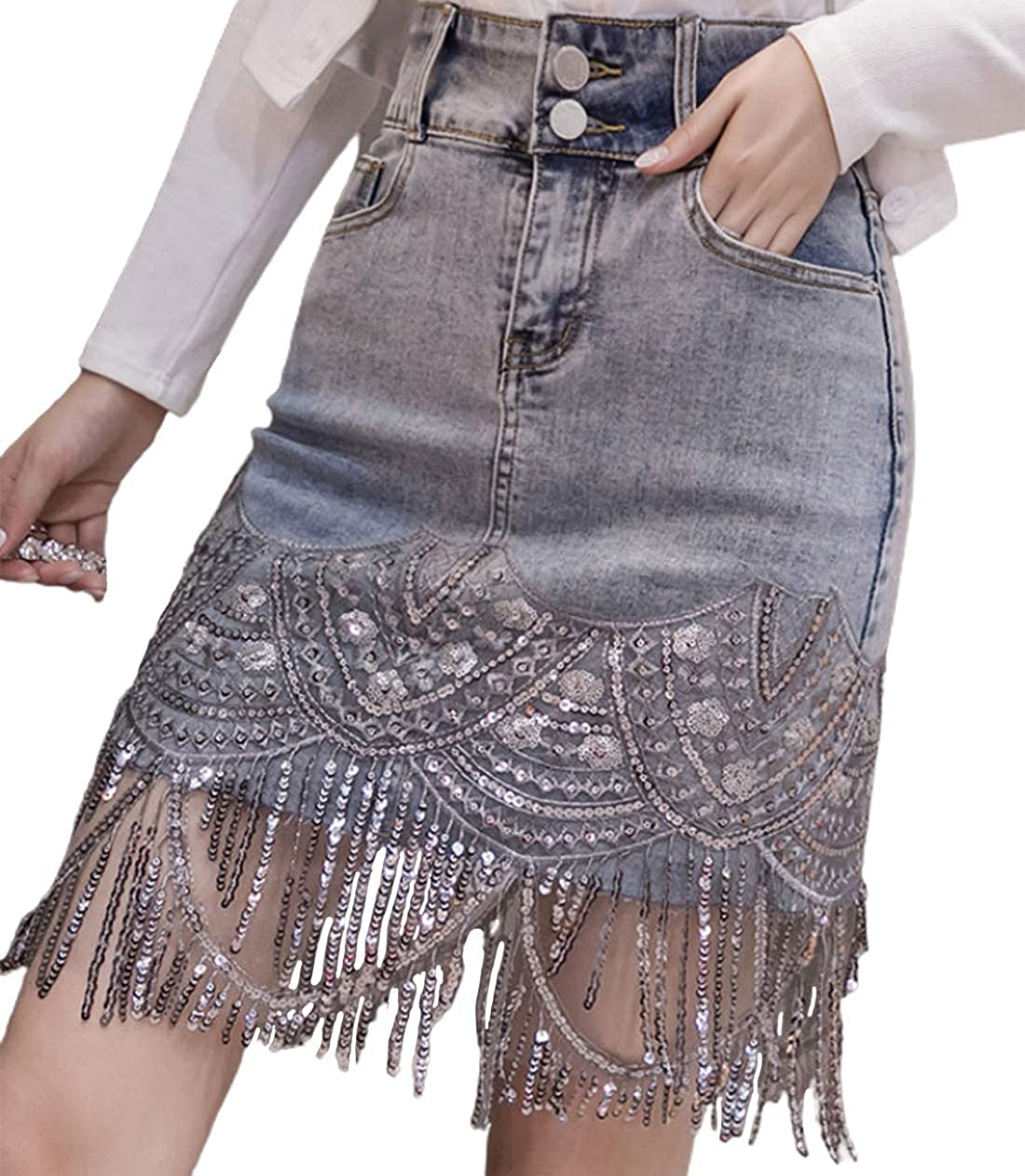 CHARTOU Women's Shiny Slim High Waist Sparkle Sequin Tassel Denim Bodycon Midi Pencil Skirt