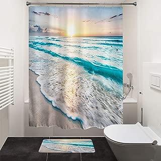HIYOO Bathroom Decorative Polyester Fabric Waterproof Bath Shower Curtain, Tropical Ocean Sea Coast Sand Beach Waves Theme Design, High-Definition Image, with Hooks 60