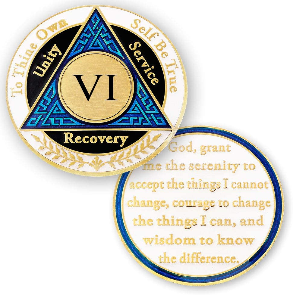 6 Year AA Medallions trend rank Coin - Yea Max 66% OFF Six Chips Alcoholics Anonymous
