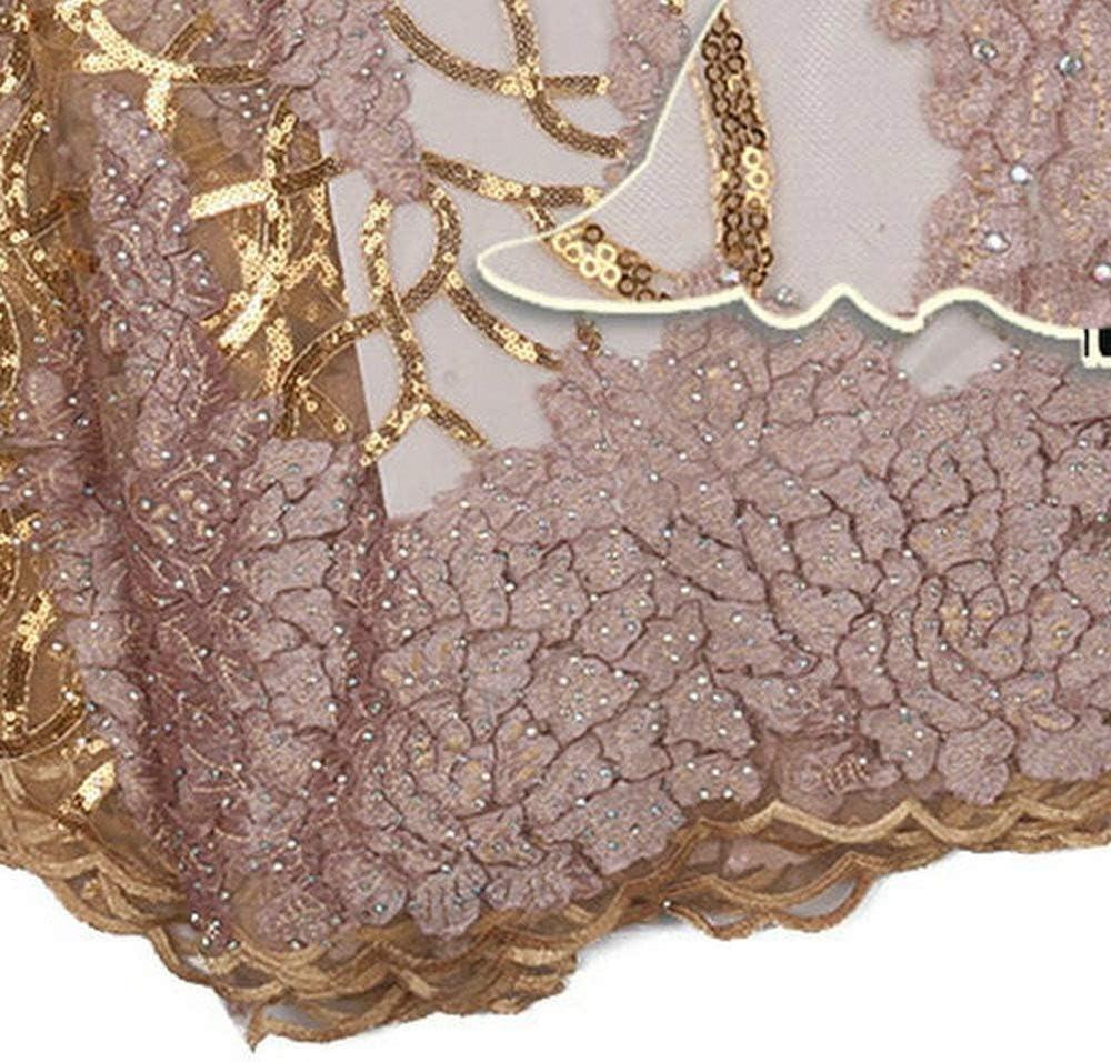Pour la f/ête Nigeria dentelle tissus africains Paillettes dentelle Tissu nuptiale Tulle dentelle tissus for soir/ée de mariage Color : NAVY, Size : 5YARDS