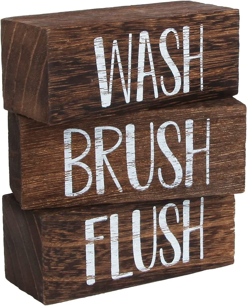 J JACKCUBE DESIGN Wash Brush Flush Bathroom Signs, Funny Farmhouse Classic Rustic Wooden Sign Box- Bath Home Vintage Decor Sign Art with Sayings- MK1066A