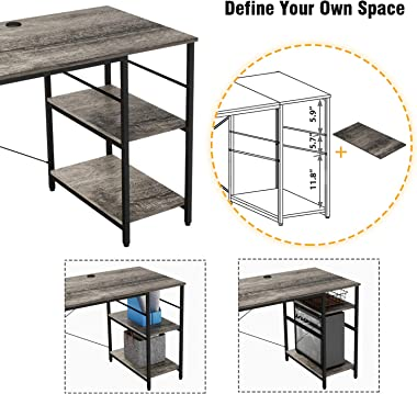 Bestier L Shaped Desk with Shelves 95.2 Inch Reversible Corner Computer Desk or 2 Person Long Table for Home Office Large Gam
